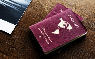 Passport on the wooden table